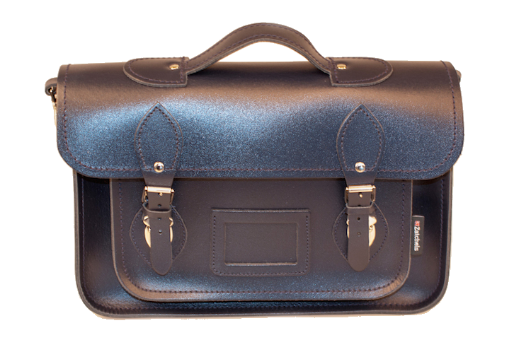 Zatchels Classic Navy Leather Briefcase Satchel 13