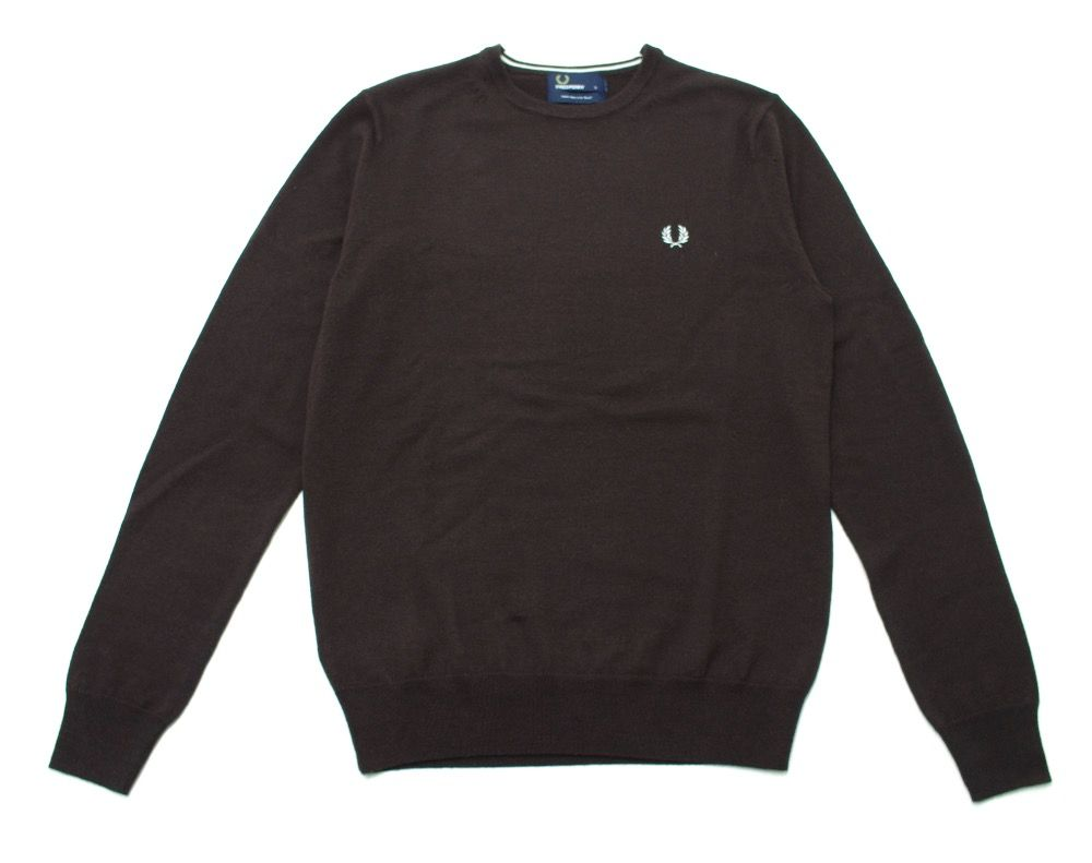 Fred Perry Classic Wool Crew Neck Jumper in Dark Chocolate