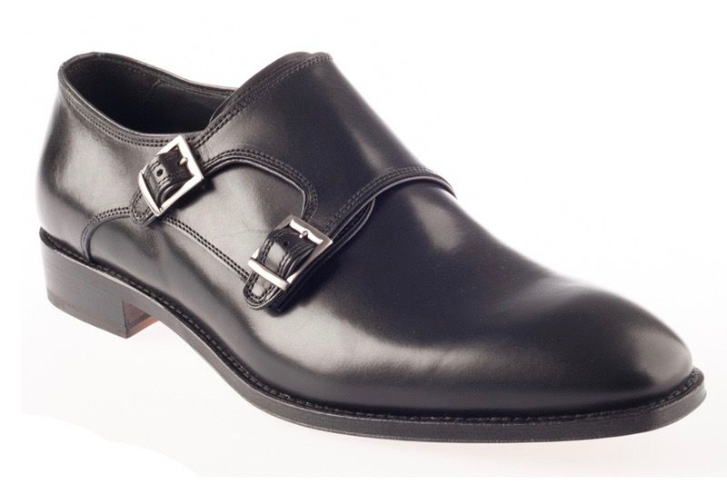John White Ripon Calf Double Monk Shoe In Black