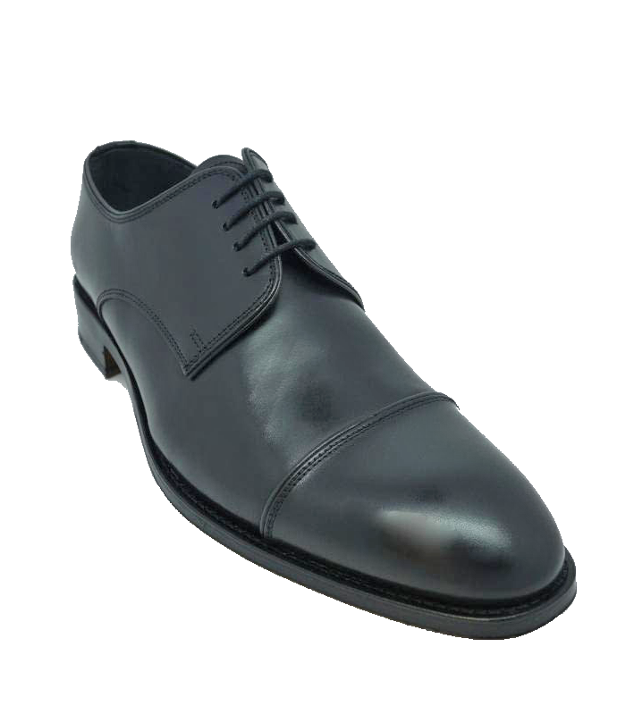 John White Finsbury Capped Lace Up Shoe in Black Calf