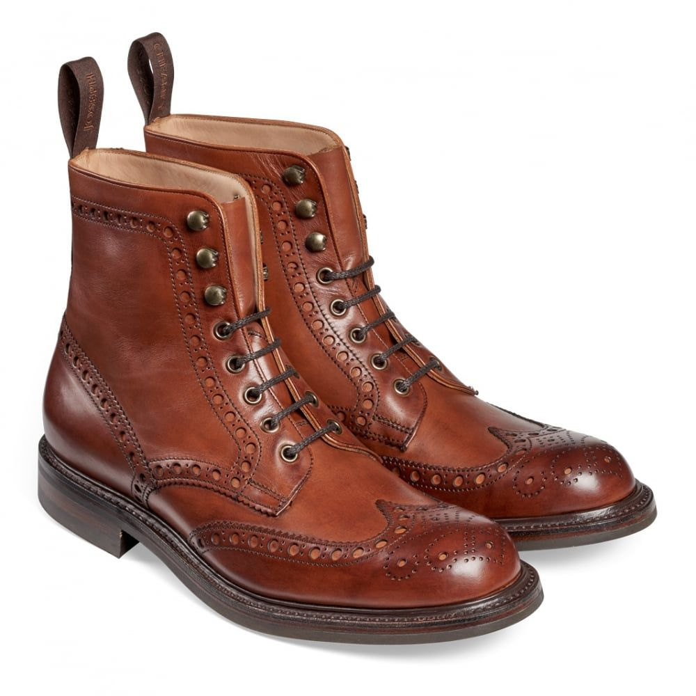 6dc5b7a143c Joseph Cheaney Tweed R Wingcap Brogue Country Boot In Dark Leaf Calf Leather