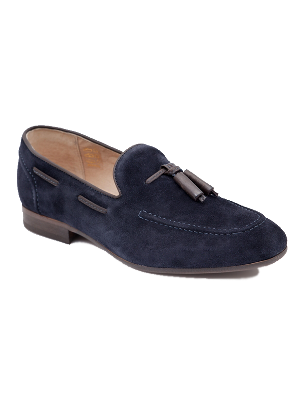 Hudson Pierre Suede Tassel Loafer in Navy