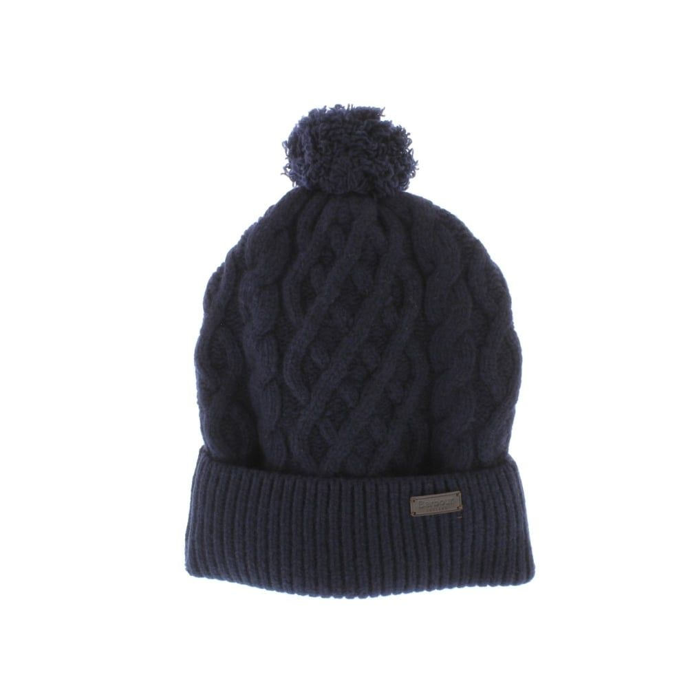 ccd944492f3 Barbour Cable Knit Beanie Hat in Navy