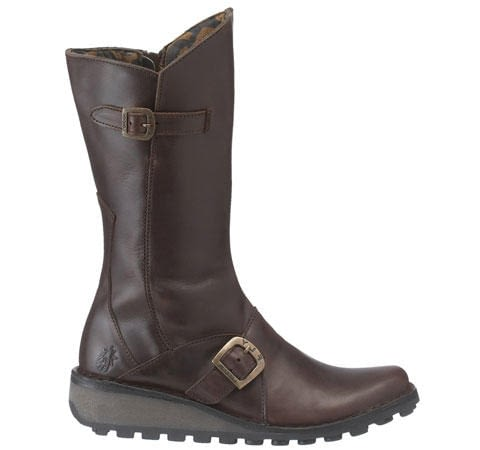Fly London Ladies Mes High Boot Dark Brown Leather