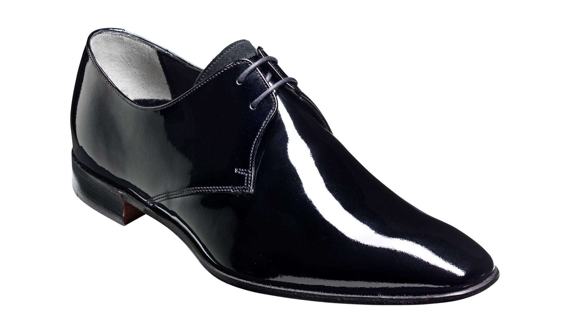 ed4ef751 Barker Goldington Derby Shoe in Black Patent / Suede