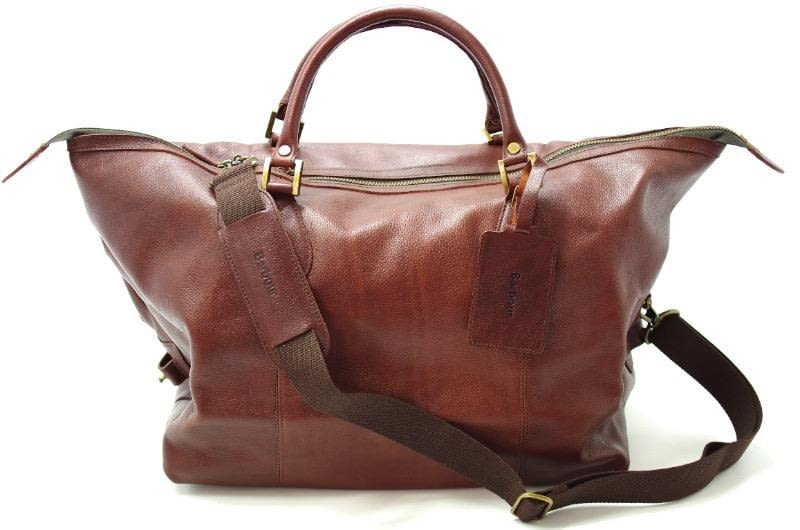 An image of a men's brown leather travel bag