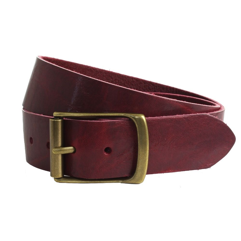 An image of a man's belt in maroon
