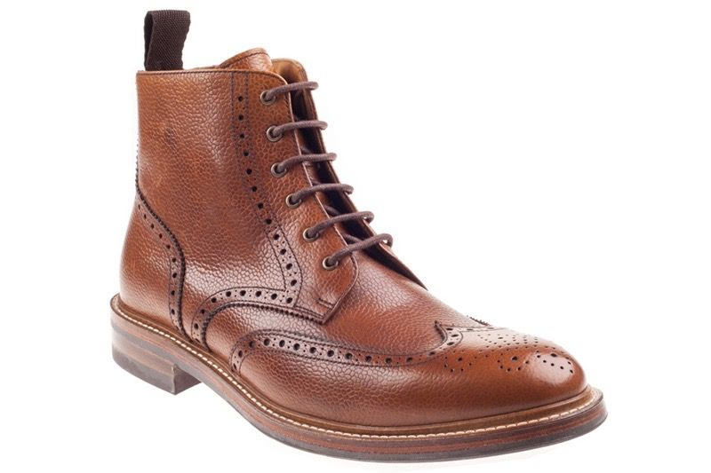 John White Bourton 6 Eye Brogue Boot in Tan Grain