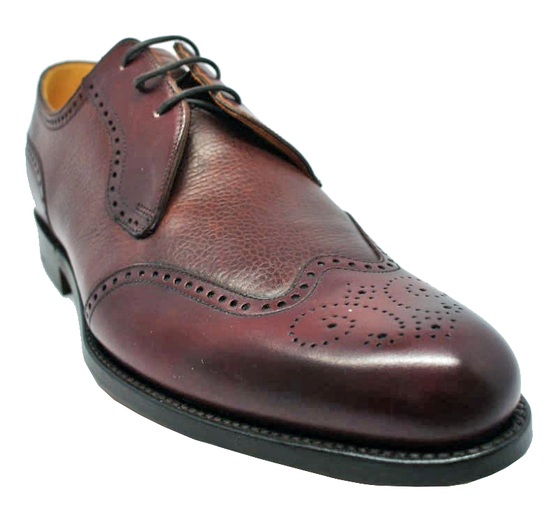 Barker Weymouth Derby Shoe in Cherry Calf/ Grain Leathers