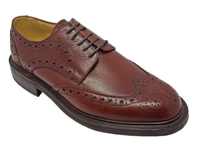 Barker Grassington Brogue in Cherry Grain Leather