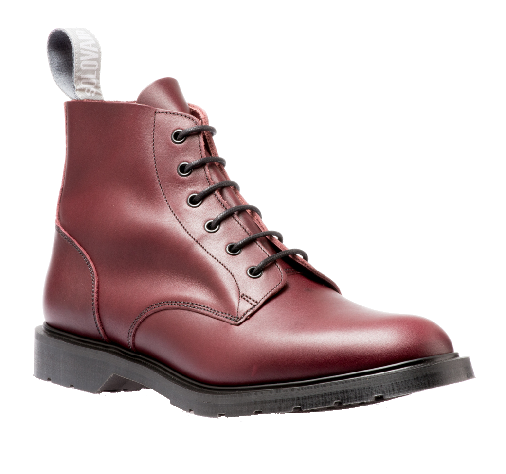 Solovair 6 Eyelet Derby Boot in Burgundy