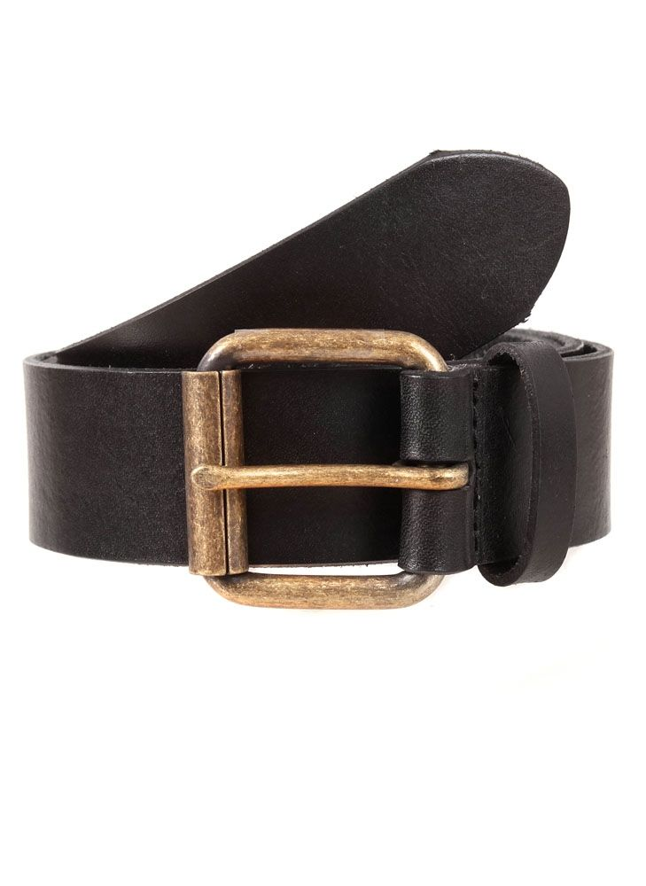 Dents Brass Buckle Waxed Leather Belt In Black