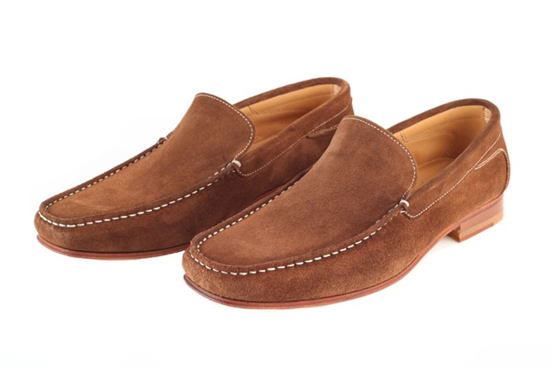 John White Venice Suede Moccasin In Cognac