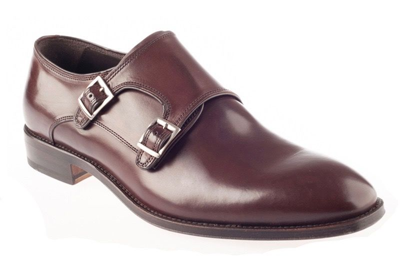 John White Ripon Calf Double Monk Shoe In Brown