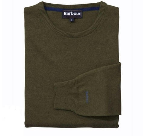 Barbour Essential Lambswool Crew Neck Jumper in Olive
