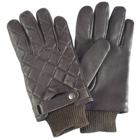 Barbour Quilted Leather Glove In Brown