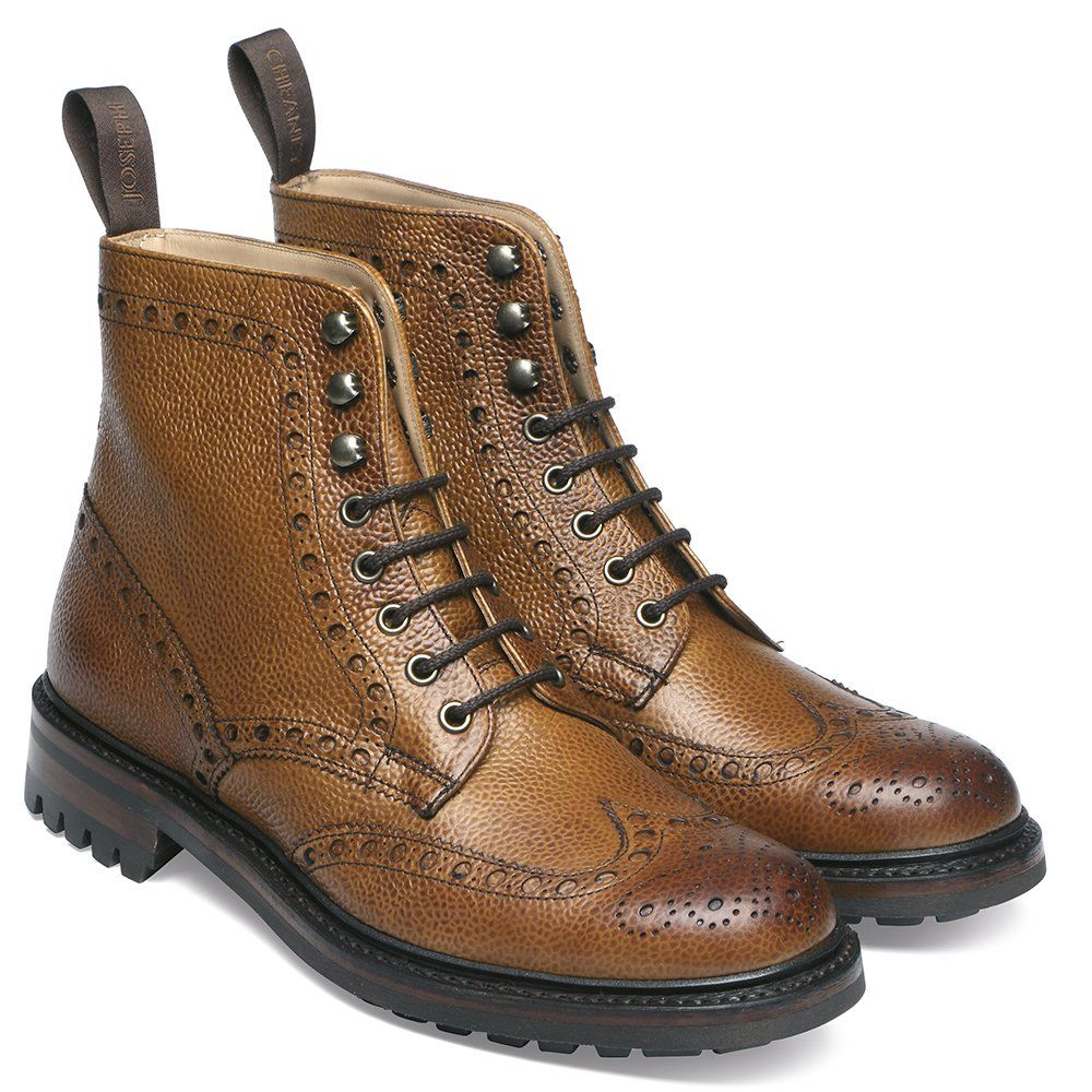 Joseph Cheaney Tweed C Wingcap Brogue Country Boot In Almond Grain Leather