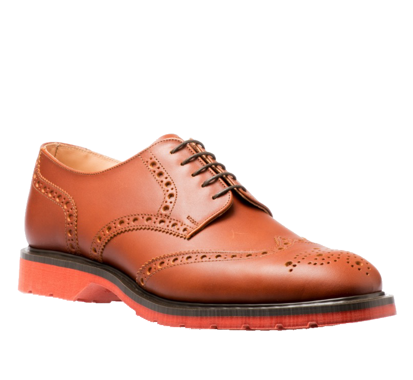 Solovair 5 Eye Gibson Brogue in Brown Red Sole