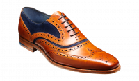 Barker McClean Brogue in Cedar Calf / Blue Suede