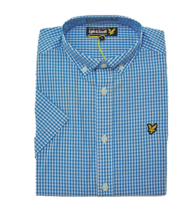Lyle & Scott Gingham Blue Short Sleeve Shirt