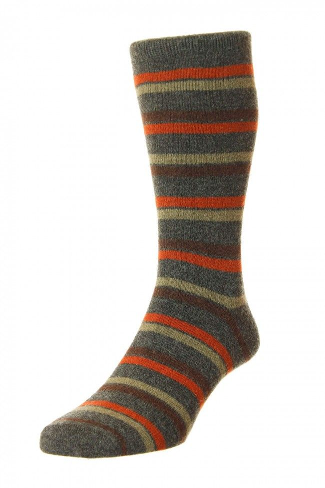 Hj Hall London Stripe Premium Casual Merino Wool Socks In Asst