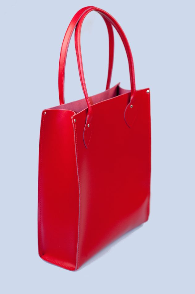 Zatchels Classic Leather Tote Bag in Red