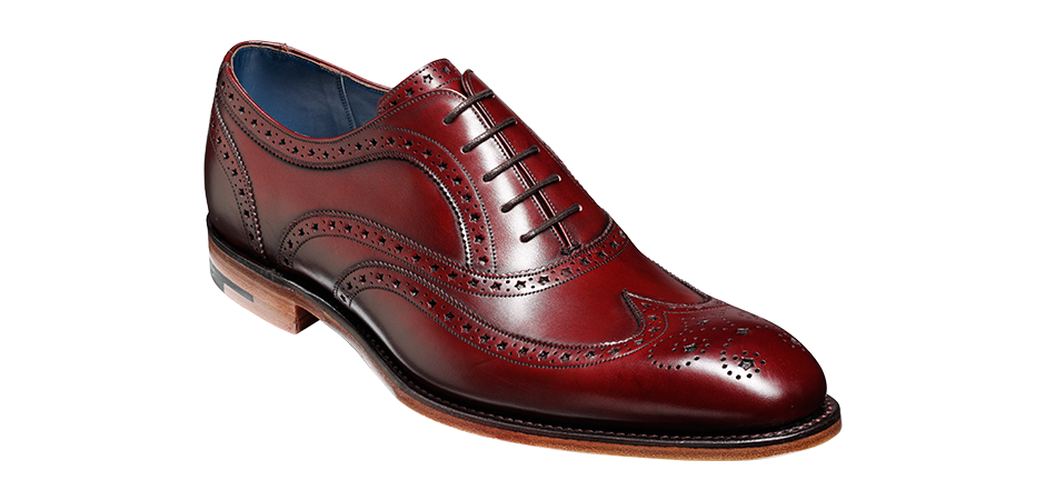 Barker Jensen Wingtip Leather Brogue In Cherry Calf