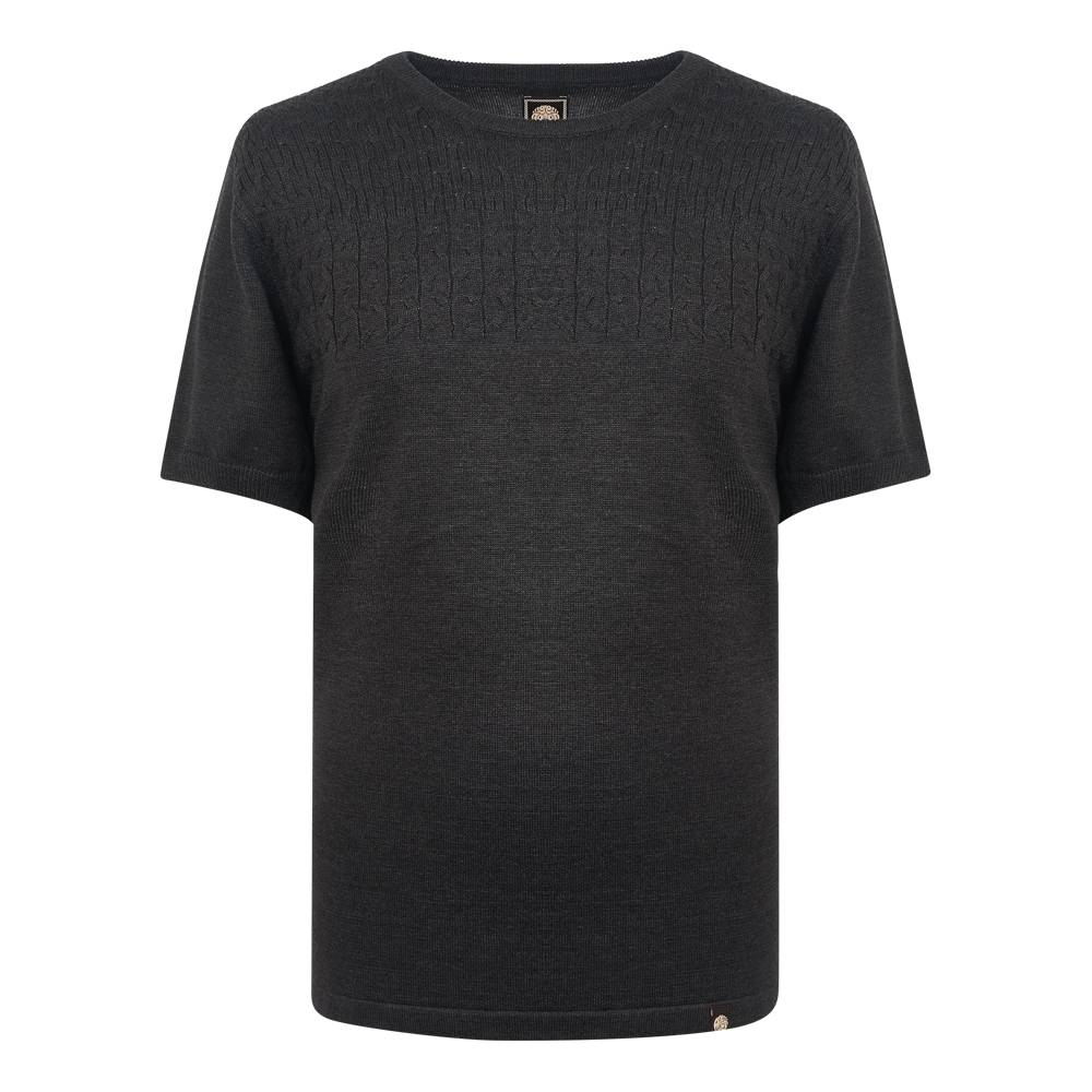 Pretty Green Edale Cable T-Shirt In Grey Marl