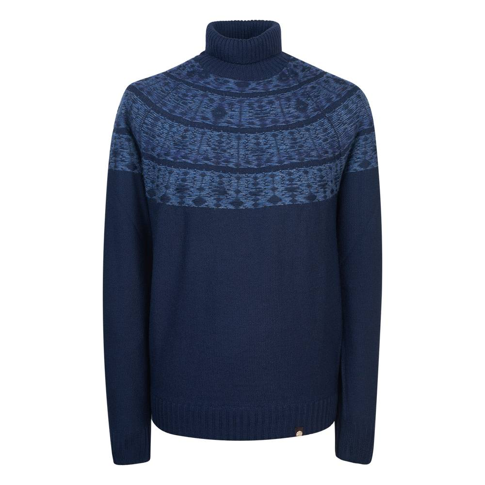 Pretty Green Abbott Roll Neck Sweater In Navy