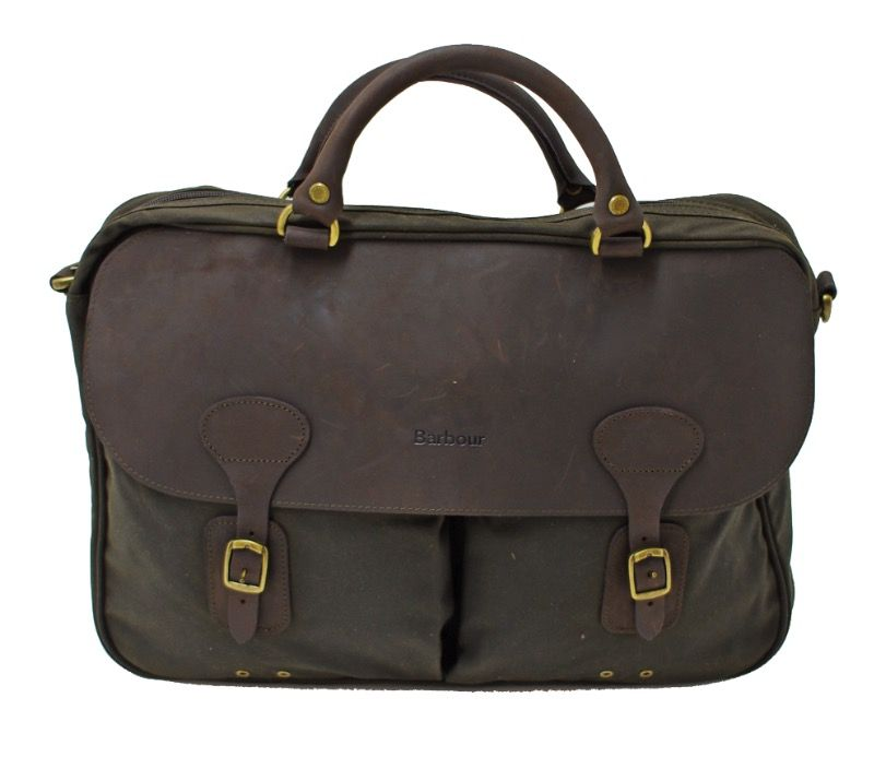 Barbour Wax and Leather Briefcase in Olive