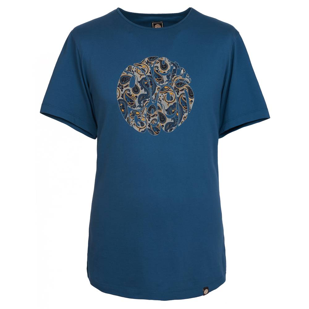 Pretty Green Stretford Paisley Logo T-Shirt In Vapour Blue