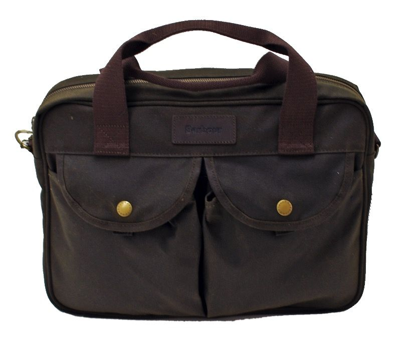 Barbour Waxed Longthorpe Laptop Bag in Olive