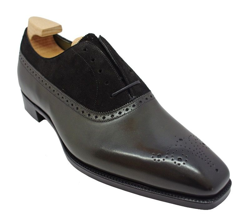 Gaziano & Girling Kent Balmoral Oxford Shoes in Racing Green Calf/ Black Suede