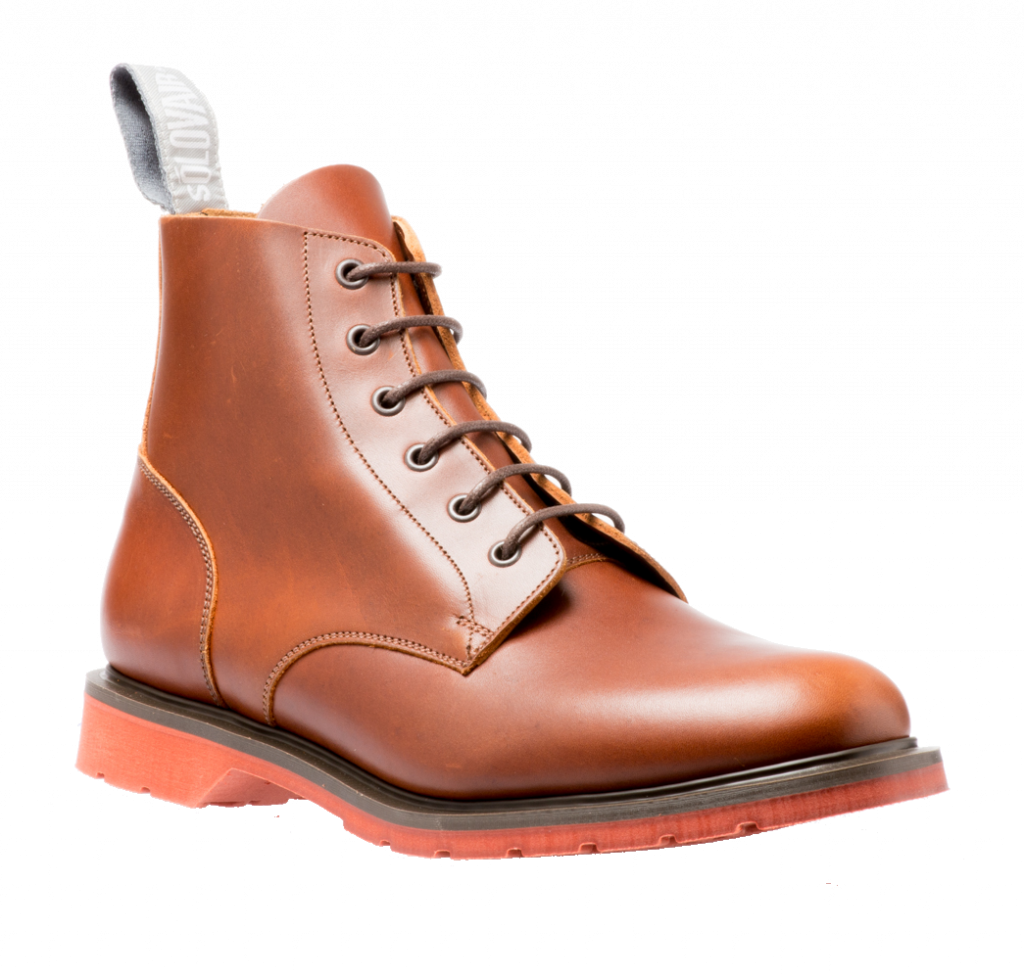 Solovair 6 Eyelet Derby Boot in Brown Red Sole.jpg