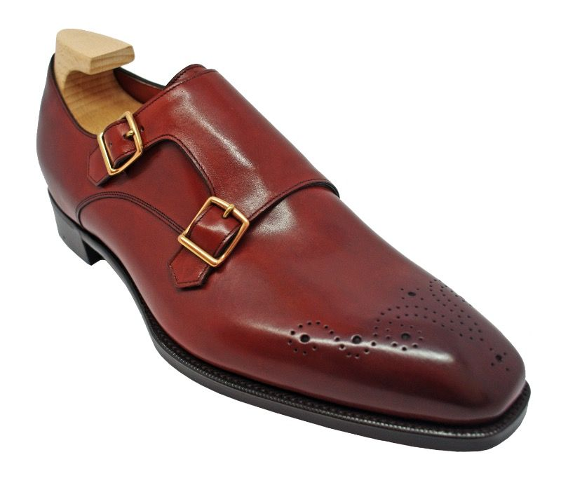 Grosvenor Double Buckle Monk Shoes in Vintage Cherry Calf.jpg
