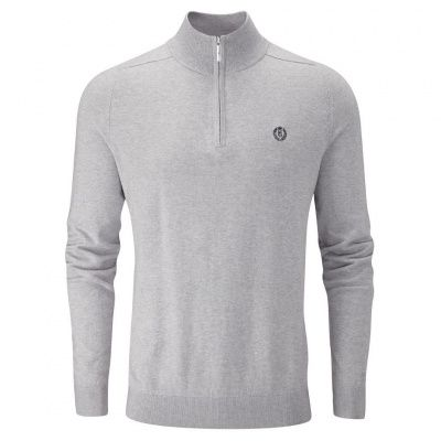 Henri Lloyd Miller Regular Half Zip Knit in Grey Marl