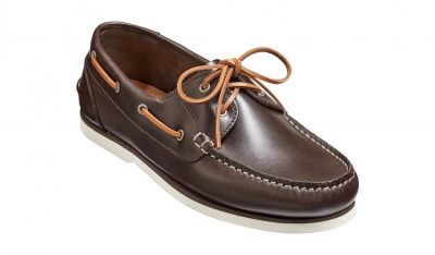 Barker Wallis Boat Shoe in Dark Brown Calf