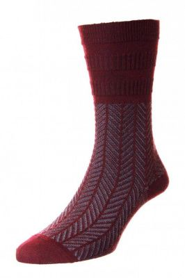 Hj Hall Lattice Wool Softop Socks In Burgundy