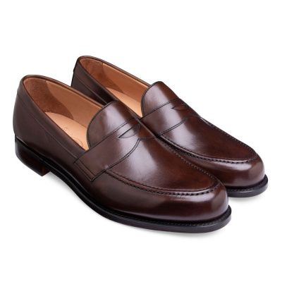 Joseph Cheaney Hudson Penny Loafer In Mocha Calf Leather