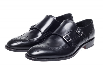 John White Clifton Double Monk Brogue in Black