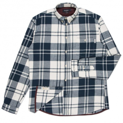 Paul Smith Brushed Cotton Checked Shirt in Petrol Blue
