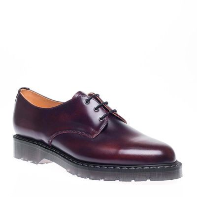 Solovair Rub-Off Hi-Shine 3-Eyelet Gibson Shoe in Burgundy