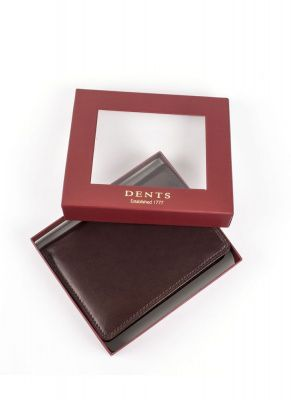 Dents Tall Billfold Wallet In Chocolate Cobalt Leather