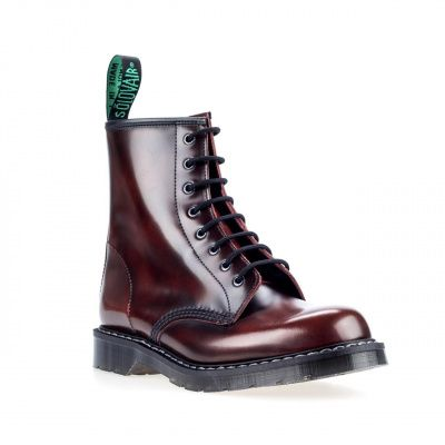 Solovair Rub-Off 8 Eye Derby Boot in Burgundy