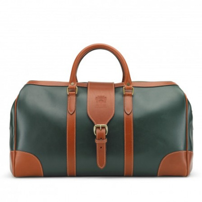 Tusting Harrold Chellington Leather Holdall In Green And Tan
