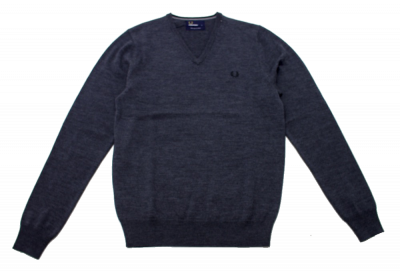 Fred Perry Classic Wool V Neck Jumper in Grey