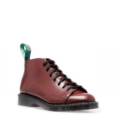 Solovair Hi-Shine 7-Eyelet Monkey Boot in Oxblood