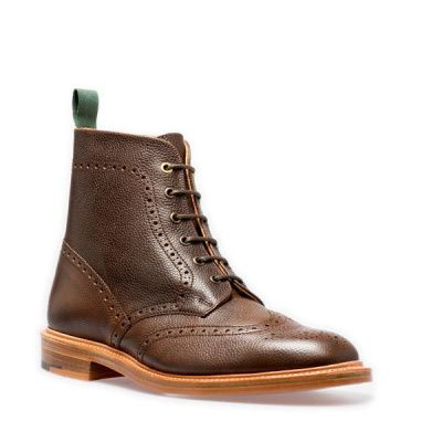 NPS Shoes Heath 6 Eye Derby Boots in Walnut