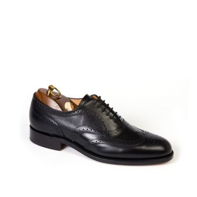 Sanders London Brogue Oxford Shoe in Black