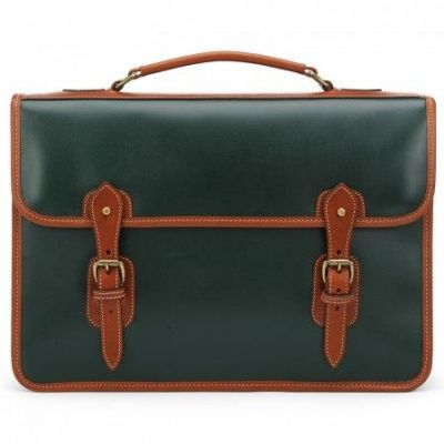 Tusting Harrold Wymington Leather Briefcase In Green And Tan